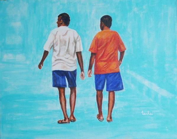 Poster featuring the painting Jay Walkers by Usha Shantharam