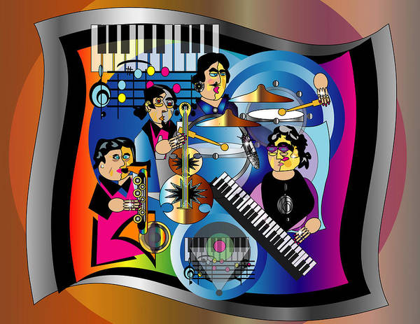 Jazz Poster featuring the digital art Jazz Combo by George Pasini