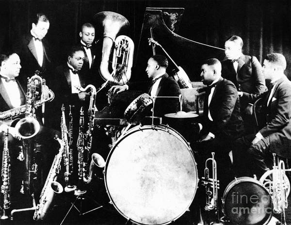1925 Poster featuring the photograph Jazz Musicians, C1925 by Granger