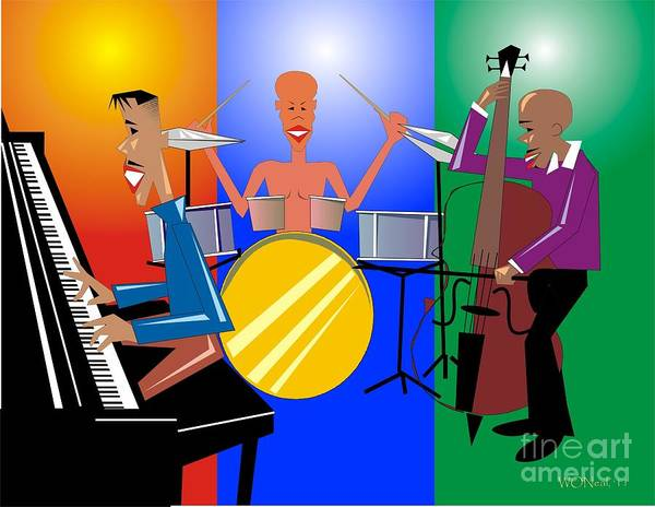 Jazz Poster featuring the digital art Jazz Trio by Walter Oliver Neal