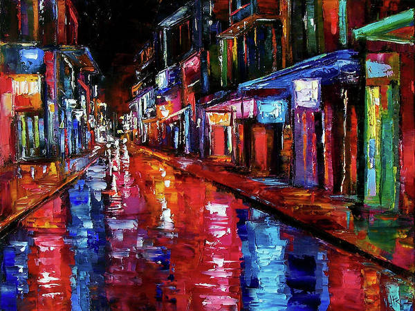 Cityscape Poster featuring the painting Jazzy Street by Debra Hurd
