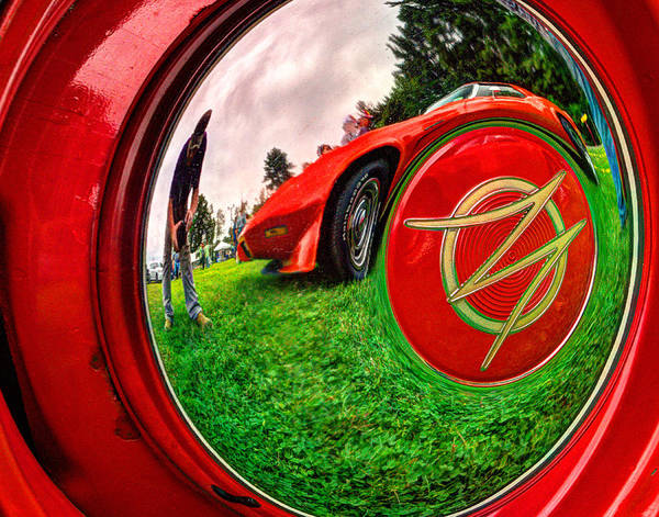 Jeep Poster featuring the photograph 1949 Willis Jeepster Logo Hubcap193 by Jeff Stallard