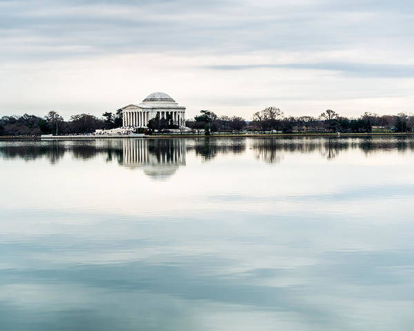 Jefferson Memorial Poster featuring the photograph Jefferson Memorial And Tidal Basin by SR Green