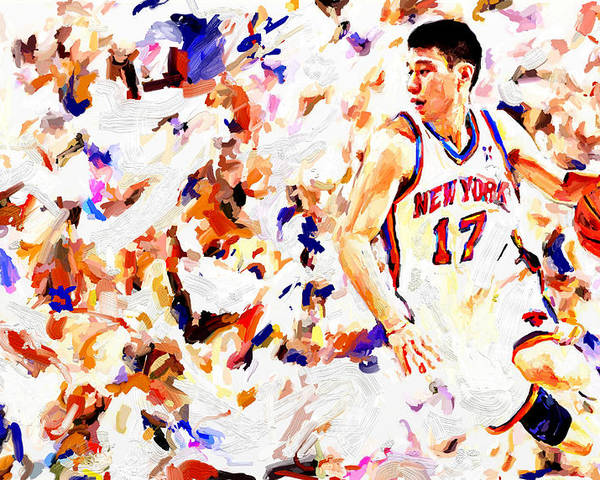 Jeremy Lin Poster featuring the painting Jeremy Lin by Leon Jimenez