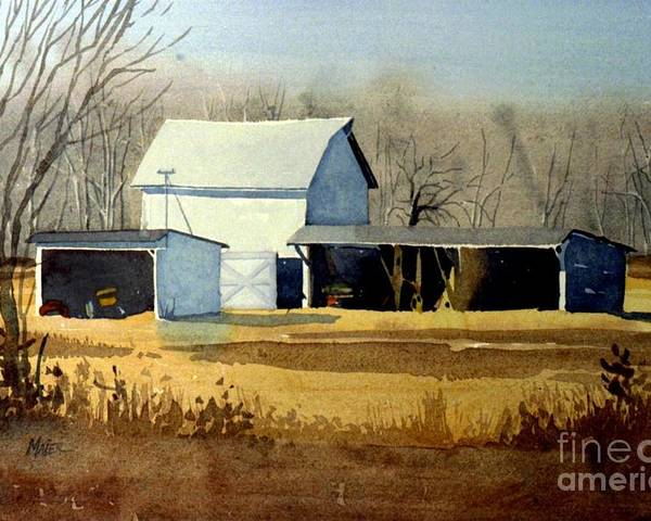 Watercolor Poster featuring the painting Jersey Farm by Donald Maier