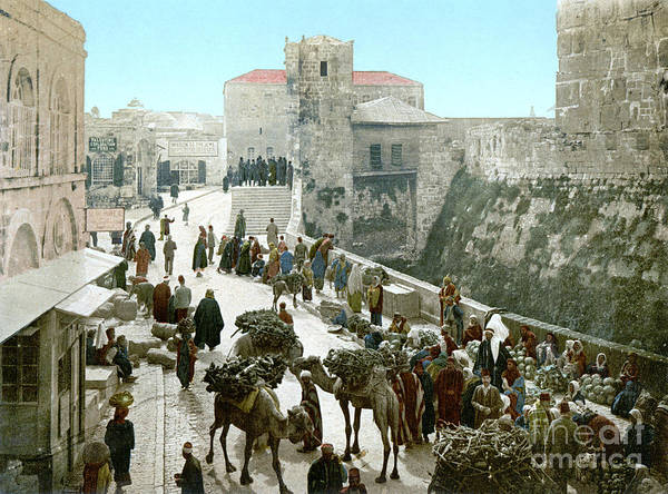 1900 Poster featuring the photograph Jerusalem: Bazaar, C1900 by Granger