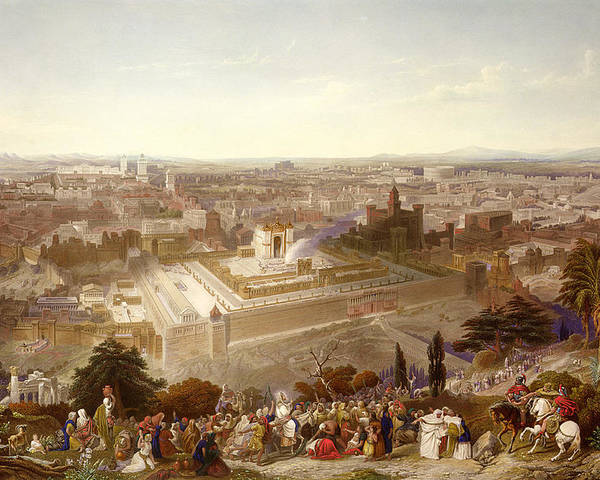 City; Palm Sunday; Entrance; Disciples; Temple; View; Landscape; Palestine Poster featuring the painting Jerusalem In Her Grandeur by Henry Courtney Selous