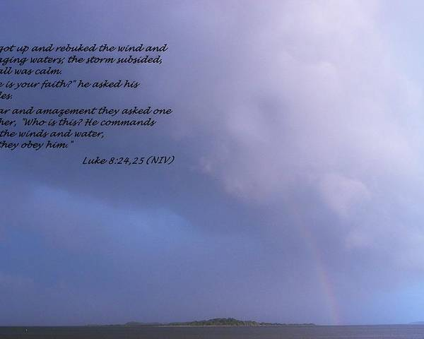 Luke Poster featuring the photograph Jesus Calms The Storm by Sheri McLeroy
