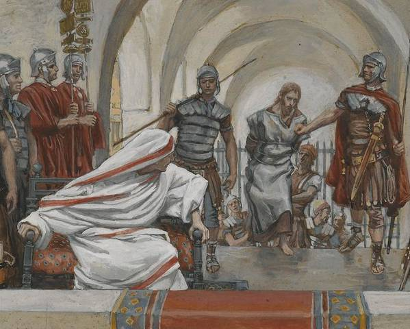 Tissot Poster featuring the painting Jesus Led From Herod To Pilate by Tissot