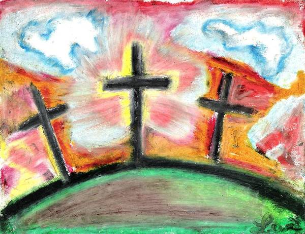 Crosses Poster featuring the pastel Jesus Loves You by Levi Glassrock