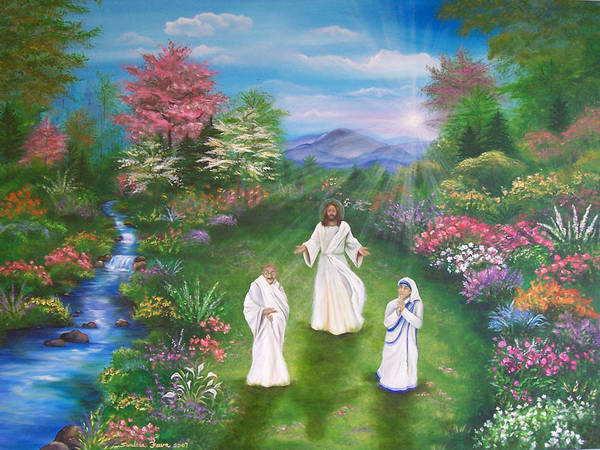 Landscape Poster featuring the painting Jesus Mother Theresa And Gandhi by Sundara Fawn