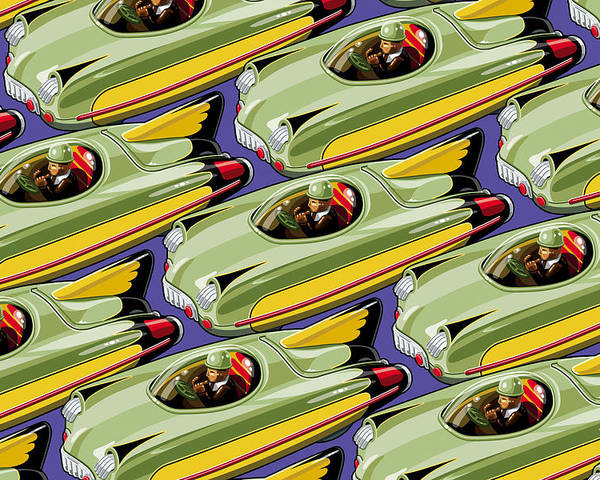 Toys Poster featuring the digital art Jet Racer Rush Hour by Ron Magnes