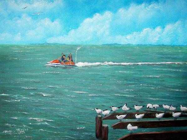 Seascape Poster featuring the painting Jet Ski Seascape by Tony Rodriguez