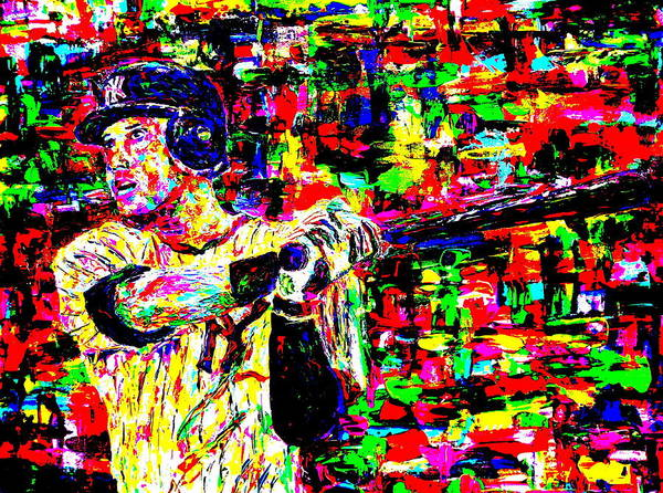 Jeter Poster featuring the painting Jeter by Mike OBrien