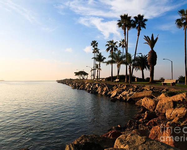 Balboa Peninsula Poster featuring the photograph Jetty On Balboa Peninsula Newport Beach California by Paul Velgos
