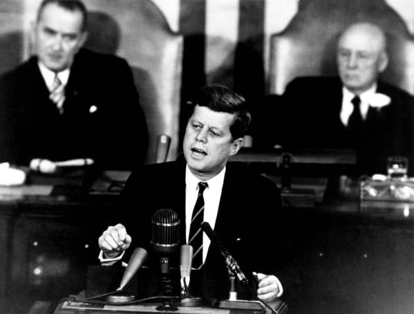 Jfk Poster featuring the photograph Jfk Announces Moon Landing Mission by War Is Hell Store