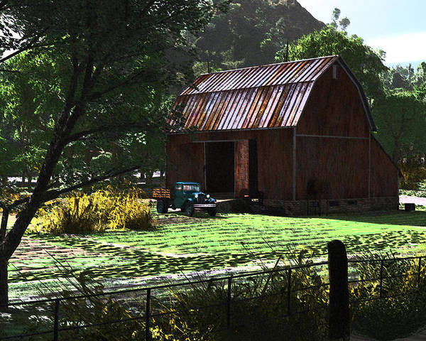 West Virgina Country Roads Mountain Mama Poster featuring the digital art Jim Bob's Barn by Steven Palmer