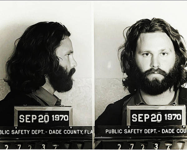 Jim Morrison Mugshot Poster featuring the photograph Jim Morrison Mugshot by Bill Cannon