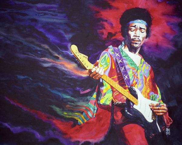 Guitarists Poster featuring the painting Jimi Hendrix Dissolve by Ken Meyer