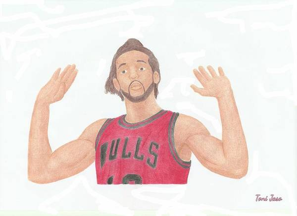 Basketball Poster featuring the drawing Joakim Noah by Toni Jaso