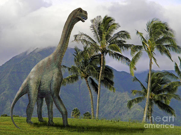 Dinosaur Art Poster featuring the mixed media Jobaria In Meadow by Frank Wilson