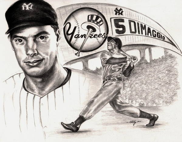 Dimaggio Poster featuring the drawing Joe Dimaggio by Kathleen Kelly Thompson