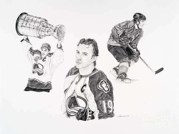 Hockey Poster featuring the drawing Joe Sakic by Shawn Stallings