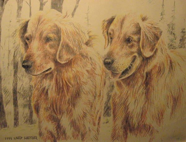 Dogs Poster featuring the drawing Joe's Dogs by Larry Whitler