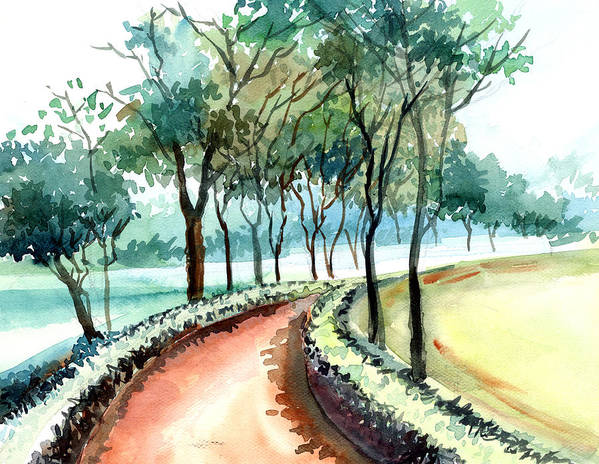 Landscape Poster featuring the painting Jogging Track by Anil Nene