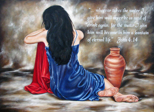 Christian Poster featuring the painting John 4 Verse 14 by Ilse Kleyn