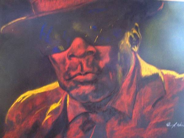 Blues Poster featuring the drawing John Lee Hooker by Darryl Hines