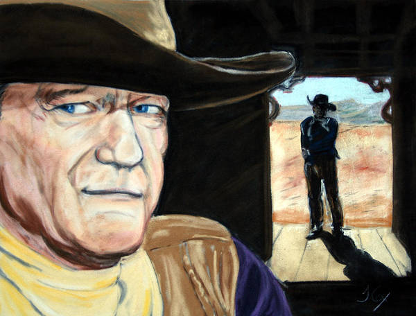 John Wayne. Film Star. Western. Cowboy. Poster featuring the painting John Wayne by John Cox