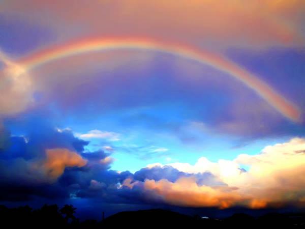 Rainbow Poster featuring the painting Jon's Rainbow by Linda Morland