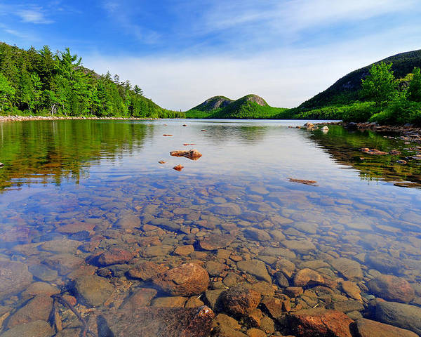 Acadia National Park Poster featuring the photograph Jordan Pond And The Bubbles by Thomas Schoeller
