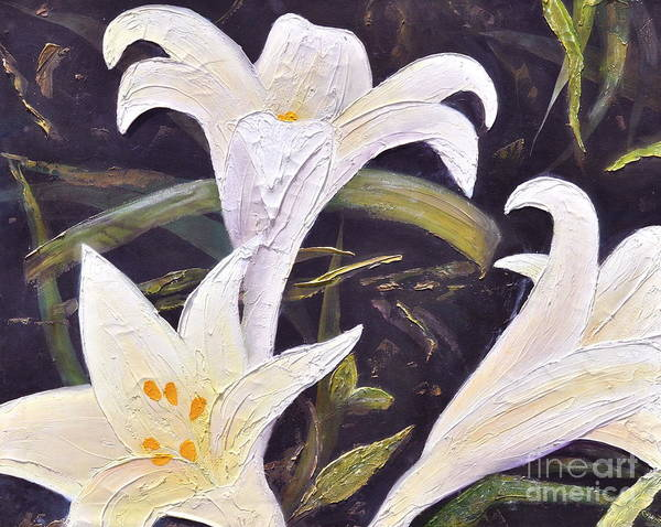 Lilies Painting Poster featuring the painting Joy Of Easter. by Penny Neimiller