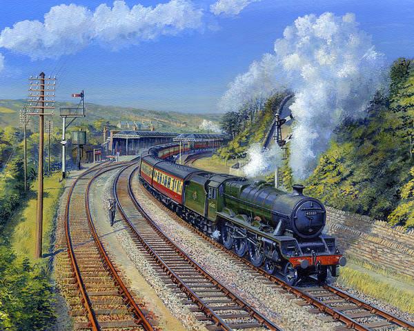 British Railway Locomotives Poster featuring the painting Jubilee Trafalgar At Mangotsfield by Matthew Cousins
