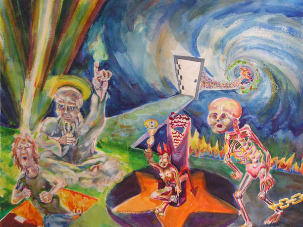 Watercolor Surreal Fantastic Religious  Judgement Day God Devil Heaven Hell Passing Revelation Poster featuring the painting Judgement Day by Mark Sharer