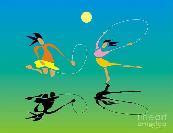 Girls Poster featuring the digital art Jump-rope by Walter Oliver Neal