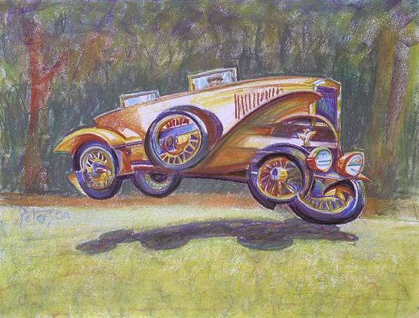 Antique Car Poster featuring the drawing Jumpin Auburn Car by Gary Peterson