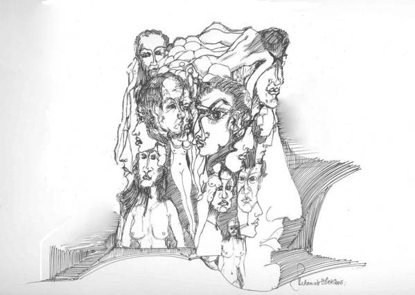 Surreal Poster featuring the drawing Junk In The Head by Padamvir Singh