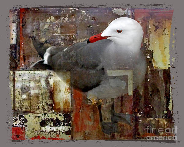 Bird Poster featuring the digital art Junkyard Gull by Chuck Brittenham