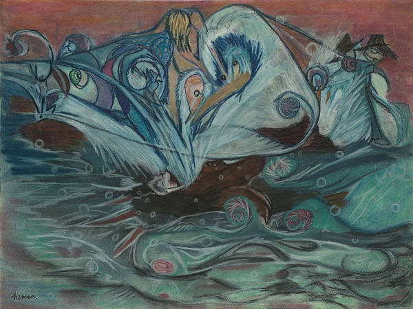Fishing Poster featuring the pastel Jupiter Surf by Stu Hanson