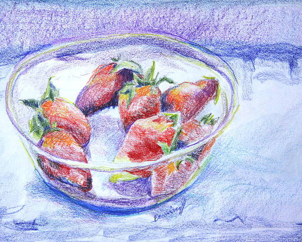 Strawberries Poster featuring the drawing Just a Bowl of Berries by Jan Bennicoff