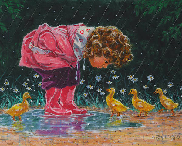Children Poster featuring the painting Just Ducky by Richard De Wolfe
