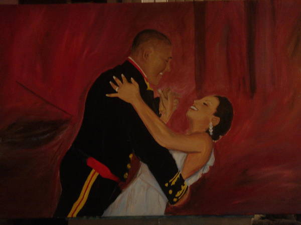 Marine Poster featuring the painting Just Married by Regina Walsh