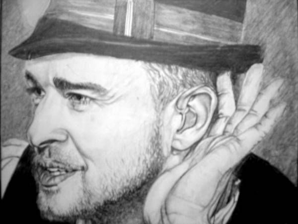 Celeb Portraits Poster featuring the drawing Justin Timberlake by Sean Leonard