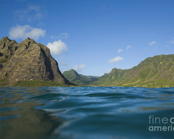 Adventure Poster featuring the photograph Kaaawa Valley From Ocean by Dana Edmunds - Printscapes