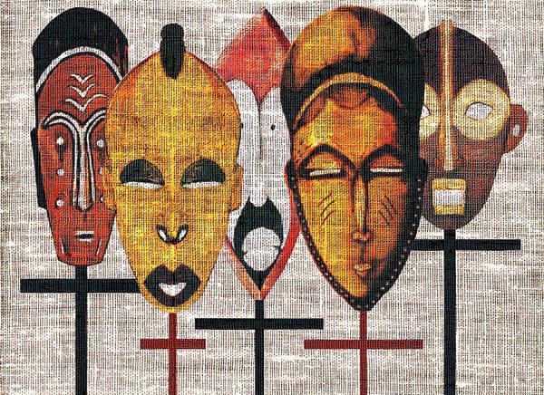 African Masks Poster featuring the digital art Kabila Masks by Regina Wyatt