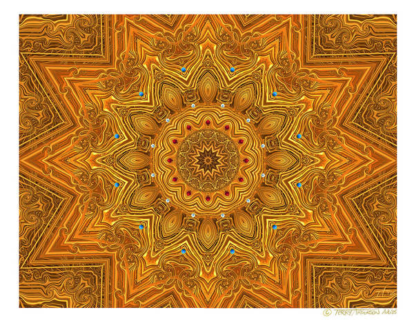 Kaleidoscope; Golden Mandala; Gold Poster featuring the digital art kaleido Prf10 X7x 17b by Terry Anderson
