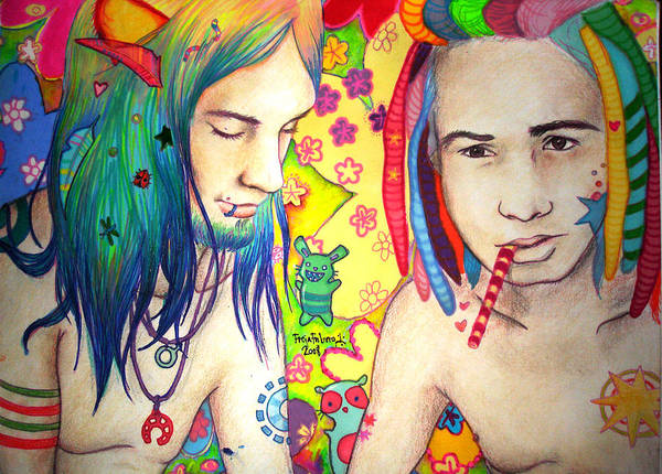 Colours Poster featuring the drawing Kamil And Louis by Freja Friborg